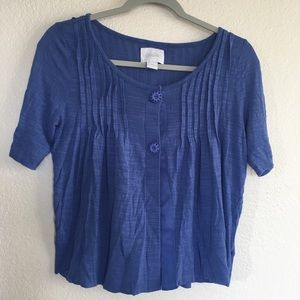 Deletta Anthropologie Sunflower Button Blue Top